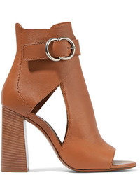 Chloé Millie Cutout Leather Ankle Boots Tan
