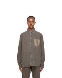 Nanushka Brown Linen Dome Shirt