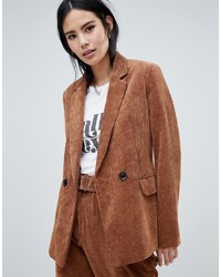 Bershka Cord Blazer In Brown