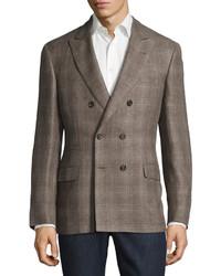 Brunello Cucinelli Madras Double Breasted Linen Blend Jacket Walnut