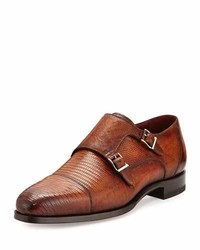 Magnanni For Neiman Marcus Lizard Double Monk Shoes Saddle