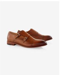 Express Leather Cap Toe Double Monk Strap Dress Shoe