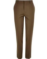 River Island Brown Skinny Suit Pants