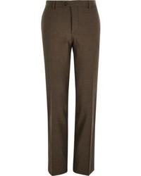 River Island Brown Tailored Slim Suit Pants