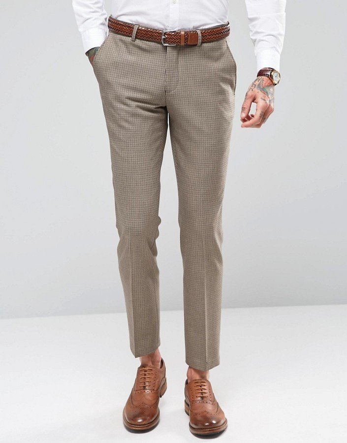 Selected Homme Skinny Houndstooth Wedding Suit Pants With Stretch ...