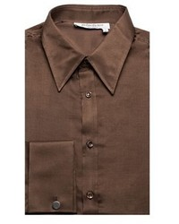 Saint Laurent Yves Cotton Silk Point Collar Dress Shirt Brown