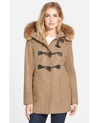Berkley wool blend twill duffle coat with genuine coyote fur trim medium 374528