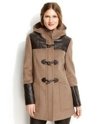 Calvin Klein Hooded Faux Leather Trim Duffle Coat