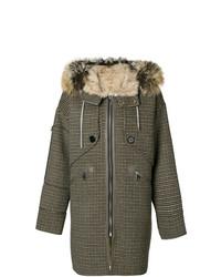Liska Houndstooth Print Hooded Coat