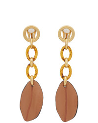 Marni Brown Leather Leaf Earrings