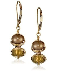 Dana Kellin Stacked Brown Pearl And Whiskey Quartz Earrings