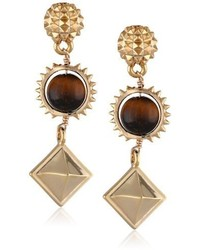 Ettika Metropolitan Gold In Tigers Eye Earrings