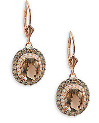 Final Call Smoky Quartz White Diamond Brown Diamond 14k Rose Gold Drop Earrings
