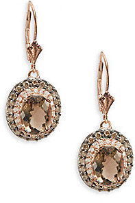 Final Call Smoky Quartz White Diamond Brown 14k Rose Gold Drop Earrings
