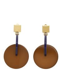Marni Navy And Brown Vertigo Earrings