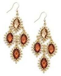 Style&co. Earrings Gold Tone Brown Stone Kite Drop Earrings