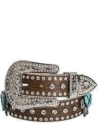 Nocona Modelcurrentbrandname Crystals Crosses Belt Leather