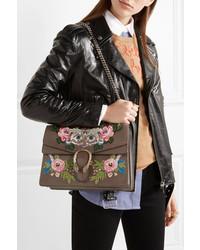 2ead3c53da00 ... Gucci Dionysus Medium Appliqud Embellished Leather Shoulder Bag Brown  ...