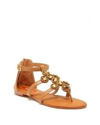 Brown Embellished Leather Flat Sandals