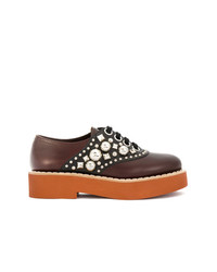 Miu Miu Chunky Embellished Two Tone Derby Shoes