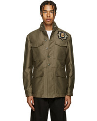 Taupe embellished military jacket medium 700729