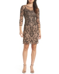 Brown Embellished Sheath Dress