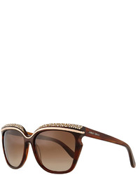 Brown Embellished Sunglasses