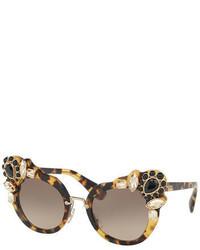 Miu Miu Gradient Embellished Dramatic Cat Eye Sunglasses