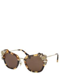 Miu Miu Monochromatic Embellished Square Sunglasses