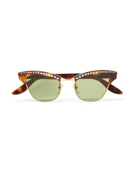 Gucci Pixie Crystal Embellished Gold Tone And Acetate Cat Eye Sunglasses