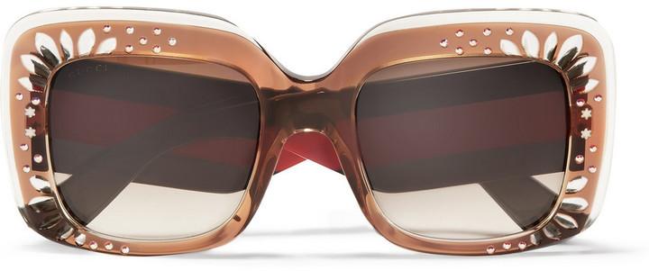 164bff723e Square Frame Crystal Embellished Acetate Sunglasses Tortoiseshell