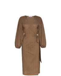 Marysia Pink Sands Embroidered Cotton Wrap Dress