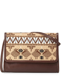 Brown Embroidered Crossbody Bag