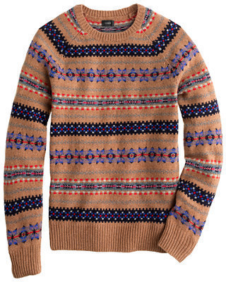 J.Crew Alpine Fair Isle Sweater In Heather Brown | Where to buy ...