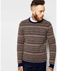 Asos Brand Lambswool Rich Sweater In 2 Color Fairisle
