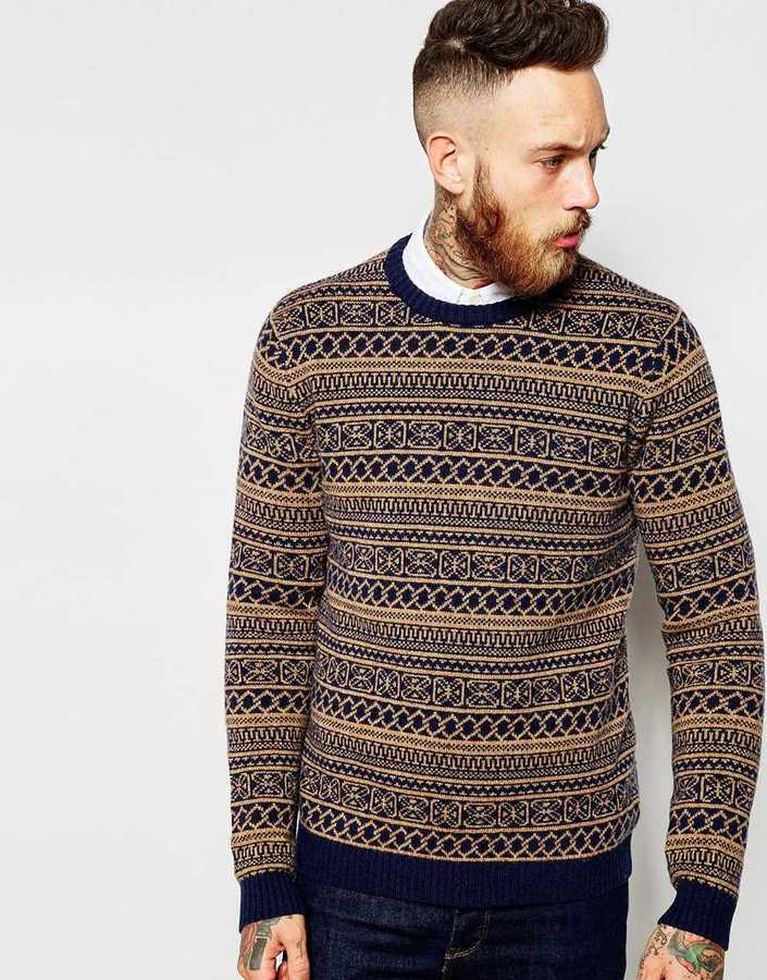 Asos Brand Lambswool Rich Sweater In 2 Color Fairisle | Where to ...