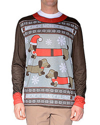 Faux Real Ugly Christmas Sweater Wiener Dog Wonderland Long Sleeve Tee