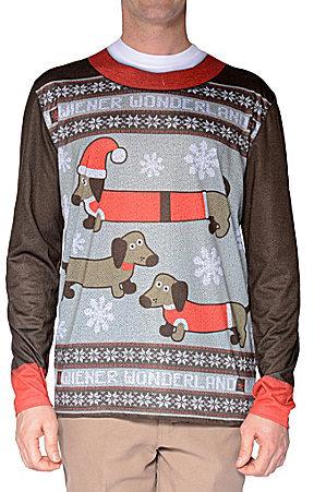 Faux Real Ugly Christmas Sweater Wiener Dog Wonderland Long Sleeve ...