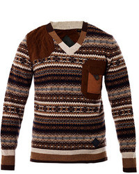 W fair isle knit sweater medium 4626