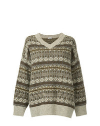 Brown Fair Isle Oversized Sweater