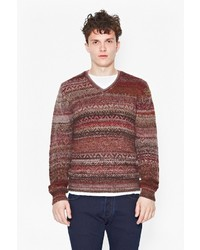 Brown Fair Isle V-neck Sweater