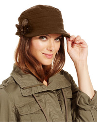 Nine West Pleated Worker Cap With Flower