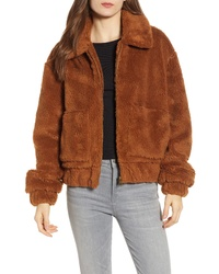 Brown Fleece Bomber Jacket