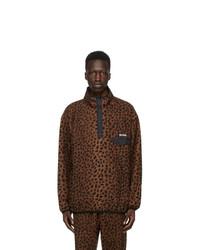 Wacko Maria Brown And Black Fleece Leopard Pullover Jacket