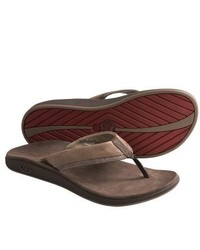Chaco Fontas Sandals Leather Flip Flops Chocolate Brown