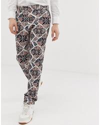 ASOS DESIGN Skinny Smart Trousers In Floral Seersucker