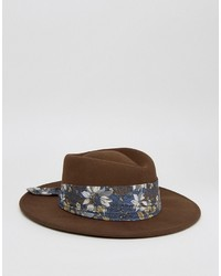 Asos Wide Brim Pork Pie Hat With Floral Band