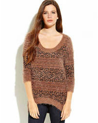 Brown fuzzy jacquard hi low sweater medium 77196