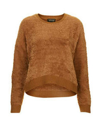 Textured fluffy knitted sweater with extra soft hand feel 85 polyester 14 acrylic 1 elastane machine washable medium 77194