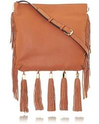 Brown Fringe Leather Crossbody Bag